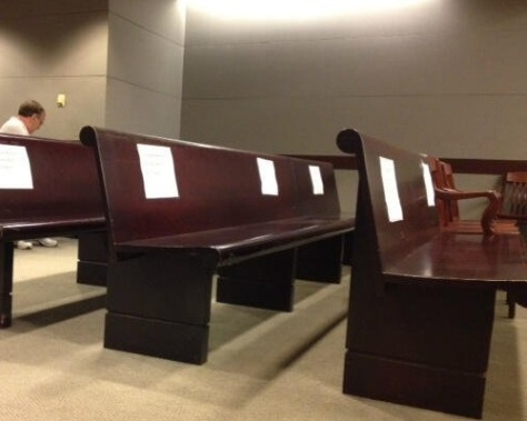 .jpg photo of empty media seats taken during testimony at the 2013 Kermit Gosnell trial in Philadelphia went viral